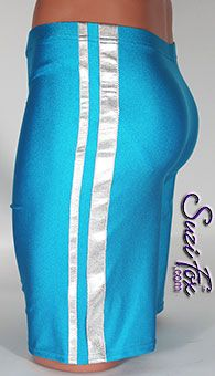 aa8afdba5caa1 Men s Basketball Shorts or Board Shorts in Turquoise Milliskin Tricot  Spandex with Silver Metallic Foil Stripes
