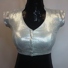Stylish Silver Sequined Saree Blouse