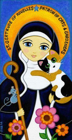 Saint GERTRUDE of Nivelles  CAT Art PRINT from Original Painting by Jill