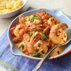 Spicy Shrimp with Creamy Polenta