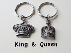 Couple Keychain Set, King & Queen Crown Key Rings, circle tag with stamped…
