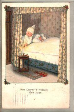 Art sign. PAuli EBNER chil children going to bed postcard mailed 1918 | eBay. $20,00
