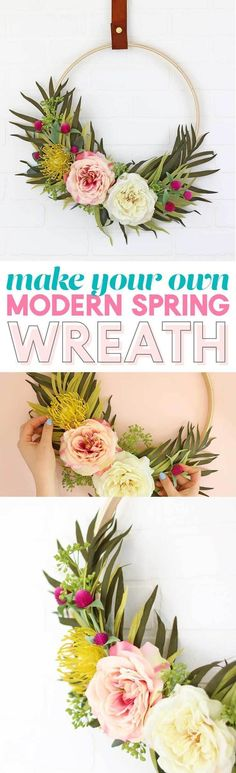 Make your own DIY Modern Spring Wreath with beautiful florals