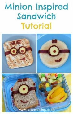 Minion Sandwich Tutorial and simple minion bento lunch - healthy fun food for kids from Eats Amazing UK - with video tutorial