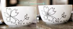 paint your own ceramic / porcelain bowls / plates / mugs.... start with plain white items that are dishwasher safe, get the right paint, get creative, and ... BAM. fancy plates.