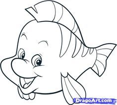 how to draw the little mermaid how to draw flounder step by step drawing for kidsthe - Drawing For Little Kids