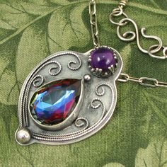 """Bermuda Blue Faceted Czech Glass Gem """"Twilight Drop"""" Sterling Pendant with Amethyst stone - OOAK by marybird on Etsy"""