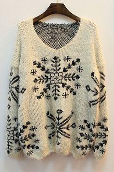 OASAP - Snowflake Print V-neck Sweater - Street Fashion Store