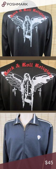 """Fender Guitar Rock & Roll Religion Mens XL Jacket Fender Guitar Rock & Roll Religion Mens Sz XL Embroidered Stretch Zip Up Jacket Inventory # D021 Fender Collection This item is in Very Good Condition! Long Sleeve Thick Jacket, Embroidered Logos, Full Back Graphics, Front Zip, Stretchy, Front Pockets Polyester Mens Sz XL  Pit to Pit (Across Chest):  23.5""""  Length (Top of Collar to Hem):  27.5""""  Sleeves (Shoulder to Cuffs):  26"""" Fender Guitar Collection Jackets & Coats Lightweight & Shirt…"""