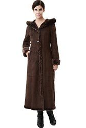 BGSD Women's Faux Shearling Long Coat with Faux Fur Trimmed Hood
