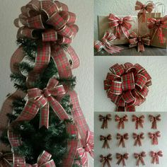 This plaid tree topper bow is a best seller in my shop.  Its hard to keep enough ribbon in stock!