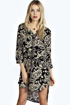 Allana Oversized Woven Curved Hem Shirt Dress alternative image