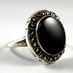 Theda Sterling Silver Onyx Ring with Sparkling Marcasite Halo Women Size 7 from San Marcos on Ruby Lane