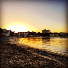 Sonnenaufgang am Playa Palmira in Paguera Mallorca Beach Club, Hotel Am Strand, Hotels, Das Hotel, Monument Valley, Country Roads, Celestial, Sunset, Nature