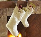 Love! with silver embroidery though! Channel Quilted Velvet Stocking | Pottery Barn