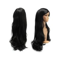 Black Long Slightly Curled Side Bang Parrucca Piena Cosplay Synthetic... ($11) ❤ liked on Polyvore featuring costumes, ladies halloween costumes, wig costume, women's halloween costumes, role play costumes and womens cosplay costumes