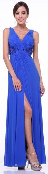 Twist Front Royal Blue Evening Dress Chiffon Front Slit V Neckline Royal Blue Evening Dress, Chiffon Evening Dresses, Royal Blue Dresses, Evening Gowns, Formal Wear, Casual Wear, Formal Dresses, Front Royal, Office Wear
