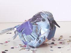 Upcycled paper bird superb blue wren £7.00