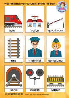 Woordkaarten voor kleuters, thema 'de trein', kleuteridee