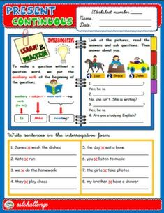 PRESENT CONTINUOUS - STUDY WORKSHEET + EXERCISES (INTERROGATIVE)