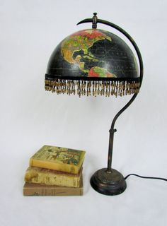 Very cool upcycled globe lamp