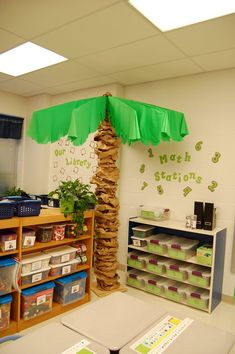 Beach or Jungle Theme ~~ Make palm trees using brown paper grocery bags and a stripped golf umbrella frame.