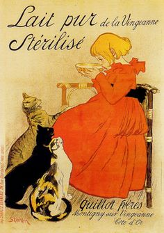 Global Gallery 'Lait pur Sterilise' by Theophile Steinlen Framed Vintage Advertisement Size: H x W x D Retro Poster, Poster S, Print Poster, Old Posters, Vintage Posters, Art Vintage, Vintage Ads, Vintage Food, Unique Vintage