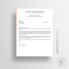 resume template cv template with cover letter von boldstationery