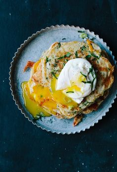 Savory Vegetable Pancakes with Poached Eggs - Edible San Francisco Savoury Pancake Recipe, Savory Pancakes, Pancake Recipes, Vegetarian Recipes, Healthy Recipes, Carrot Recipes, Cabbage Recipes, Rib Recipes, Roast Recipes
