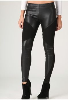 Leather panel leggings