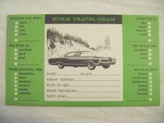 old postcard- ADVERTISING, BUICK CARS AUTO, TRAVEL-GRAM