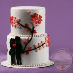Valentines Day Cake Couple Silhouette Cake Hearts Cake  #Valentines #ValentinesDay #ValentinesDayCake #HeartsCake #Hearts #Love #Silhouette #Couple #Lovers #LoverCake #Baking #Cakes #Fondant #CakeDesign #CakeDecorating #Kiss