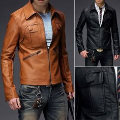Faux leather brown coat