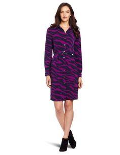 Anne Klein Women's Long Sleeve Polo Dress, Navy/purple, X-small