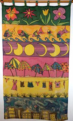 "bandô em seda pintada ""Sair da cidade"" por Marlene Wolfensberger (Ateliê Lilimarlene)"