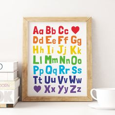 Alphabet Printable Art, Kids Educational Print, ABC Printable, Nursery Decor, Playroom Wall Art, Alphabet Chart Poster *Instant Download* Playroom Decor, Nursery Wall Decor, Nursery Prints, Wall Prints, Kids Room Art, Art Wall Kids, Art For Kids, Abc Poster, Kids Poster