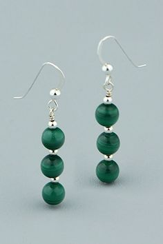 Tiered Beaded Malachite Sterling Silver Earrings, USA Healing Gemstones, Malachite, Sterling Silver Earrings, Bling, Tutorials, Drop Earrings, Beads, Usa, Unique