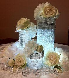 Best Wedding Reception Decoration Supplies - My Savvy Wedding Decor Vase With Lights, Tea Lights, Battery Lights, Denim And Diamonds, Deco Floral, Floral Design, Table Centerpieces, Bling Centerpiece, Centerpiece Ideas