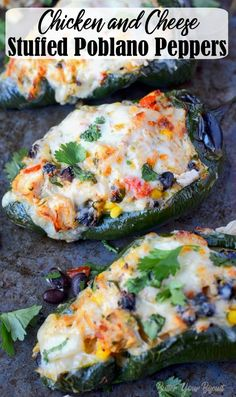 Chicken and Cheese Stuffed Poblano Peppers- Butter Your Biscuit Stuffed Poblano Peppers recipe are smoky and loaded with chicken, cheese, beans, corn and tomatoes. Quick and easy for a delicious weeknight meal! Recipes With Chicken And Peppers, Chicken Recipes, Mexican Dishes, Mexican Food Recipes, Poblano Recipes, Pepper Recipes, Stuffed Poblano Peppers, Stuffed Pablano Pepper Recipe, Stuffed Poblanos