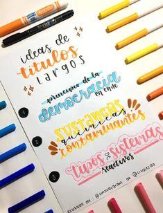 Blending Brush Lettering with a Water Brush Bullet Journal School, Bullet Journal Titles, Journal Fonts, Bullet Journal Inspiration, School Notebooks, Pretty Notes, Lettering Tutorial, School Notes, Study Notes