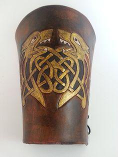 Renaissance Celtic Wolf and Knots Half Bracer.  For Ren Faire and Steampunk