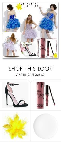 """robe de cocktail-homecoming dress-15"" by sophie-robelle ❤ liked on Polyvore featuring Boohoo and Kylie Cosmetics"