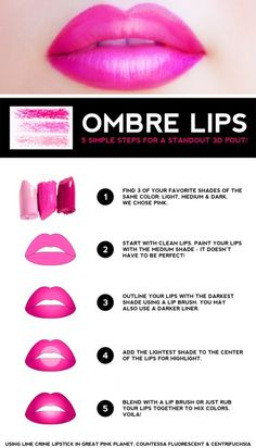 Ombre-Lippen-Tutorial - Beauty Tips and Tricks Ombre Lips Tutorial, Basic Makeup Tutorial, Lip Tutorial, Lipstick Tutorial, Make Up Tutorials, Tips And Tricks, Lipstick Color Names, Concealer, Mascara