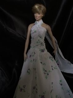 Diana doll Lot 69 Gown made with hand painted fabric
