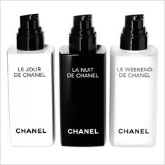 """CHANEL LE JOUR, LA NUIT, AND LE WEEKEND """"My skin loves this trio: a light serum for day, a thick cream for evening, and a treatment serum for weekend.""""  $85 each and $115 (Le Weekend)"""
