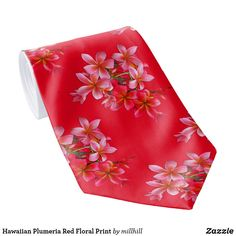 c708f999a7fe Red and pink tropical plumeria flowers pattern tie. #tropicaltie  #plumeriaflowers #hawaiianties #