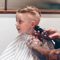 skinning in progress, also traditional barber cape Kids Barber, Boy Cuts, Barbershop, Capes, Haircuts, Christian, Traditional, Children, Hair Styles