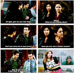 That's a weird thing for Peralta to think a girl has in her purse... Santiago & Diaz are normal, nothing about Gina is normal though so...