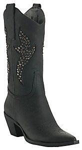 Roper® Ladies Black w/ Silver Studded Inlay Pointed Toe Western Fashion Boot, Great simple every-day boots