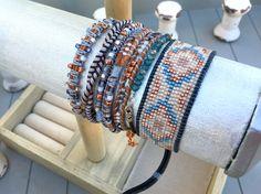 Blue and Copper Southwestern Loom Beaded Bracelet